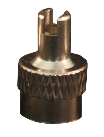 X knurled slot head nickel plated valve stem cap